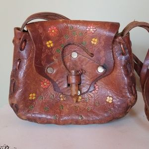 Vintage Leather Fliral Hippie Shoulder Bag Purse